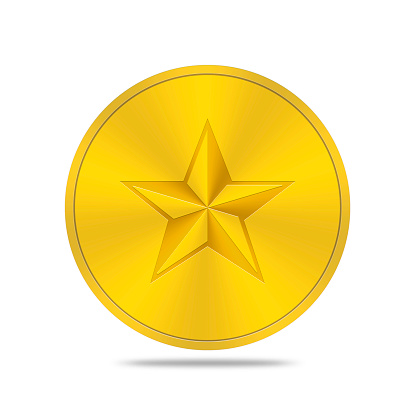istock gold button with star icon 468272080