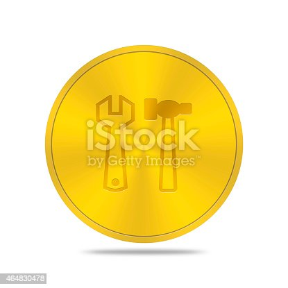 istock gold button with tools icon 464830478