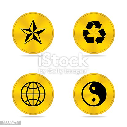 istock Gold buttons icon isolated 538356751