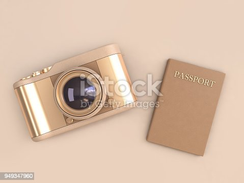 istock gold camera glossy reflection and brown passport on cream background minimal style 3d rendering,travel concept 949347960
