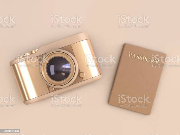 Gold camera glossy reflection and brown passport on cream background picture id949347960?b=1&k=6&m=949347960&s=612x612&h=ty2 7 fpa4doulv2jmmkm0gvssershisqtltqbniuam=