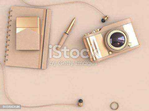 istock Gold Camera Pen Notebook top view 3D Rendering 949860596