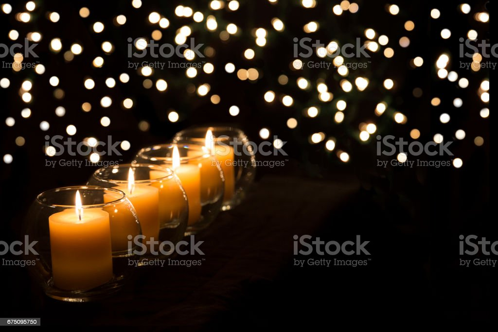 Gold Candles and Lights stock photo