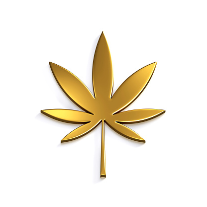 istock Gold Cannabis Leaf Isolated on White Background. 3D Render Illustration 924494744