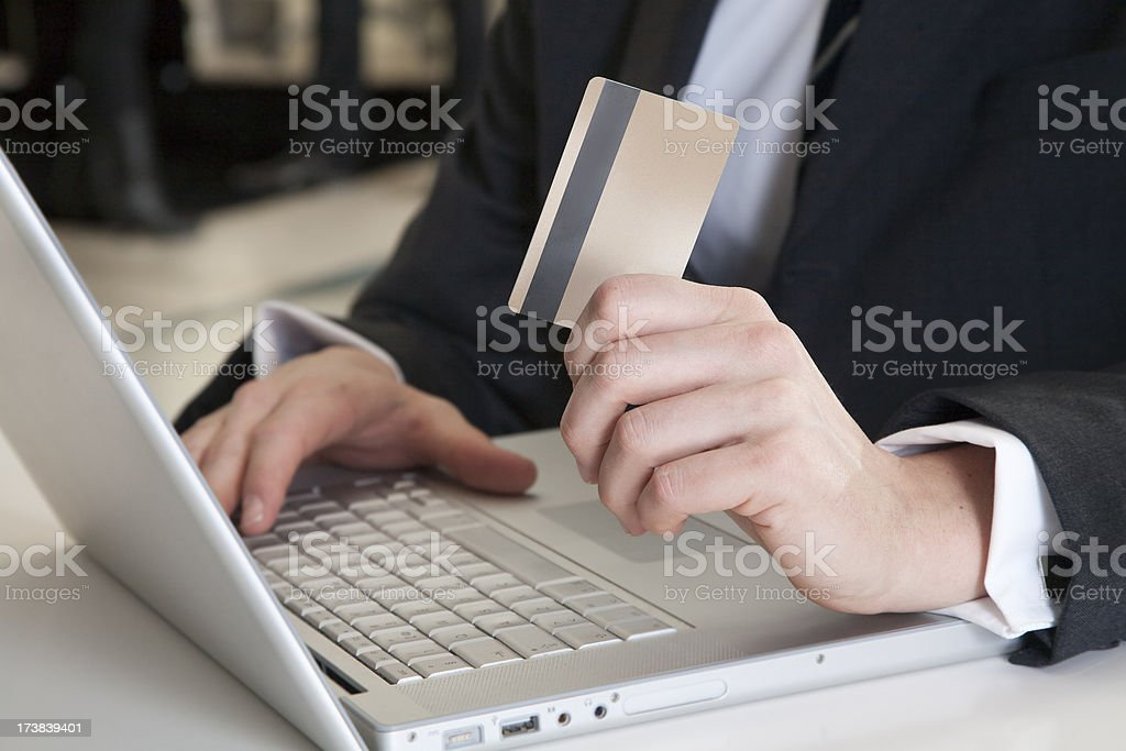 Gold card online shopping royalty-free stock photo