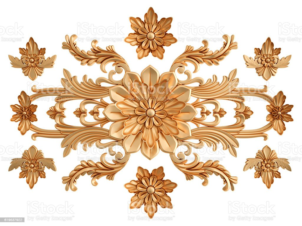 Gold carved ornament on a white background isolated stock photo