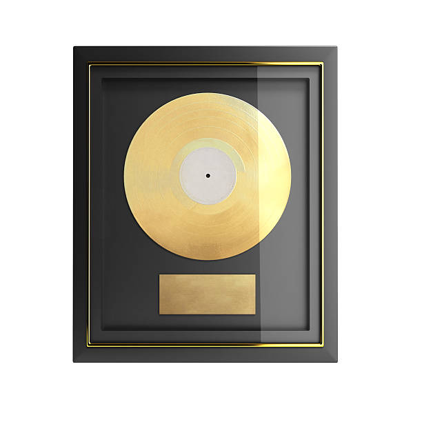 Gold CD prize with label 3d render stock photo