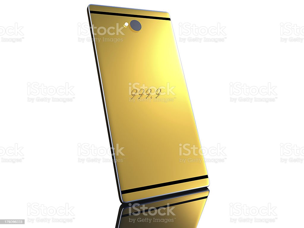 Gold cell phone royalty-free stock photo