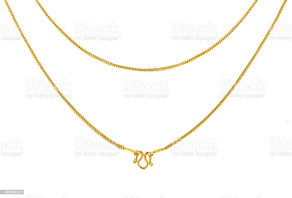 Gold chain necklace isolated on white  background stock photo