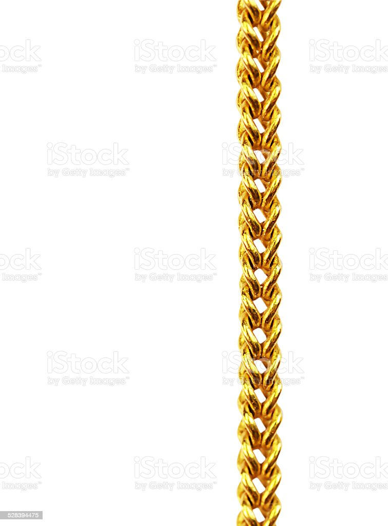 Gold chain necklace isolated on white, closeup , clipping path. stock photo