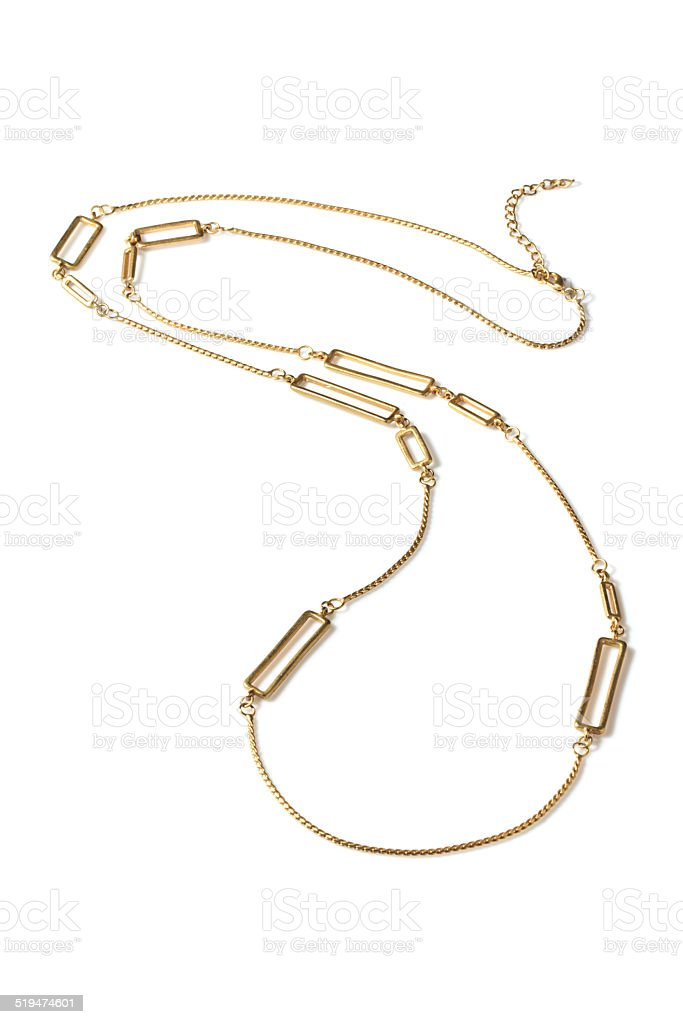 Gold chain necklace stock photo