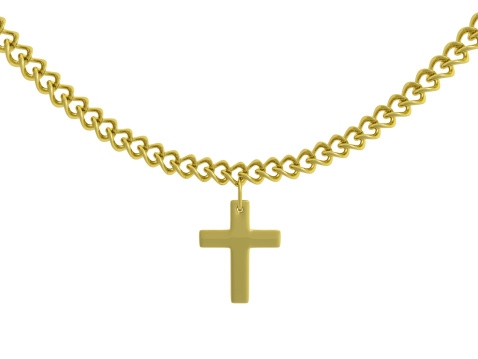 Gold chain with cross pendant