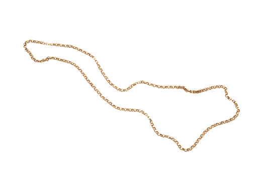 Gold chain isolated on white background.