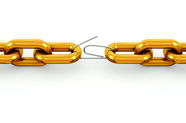Gold chain with silver paper clip link 3D rendering of two gold chains linked by a weak silver paper clip isolated on white background. detach stock pictures, royalty-free photos & images