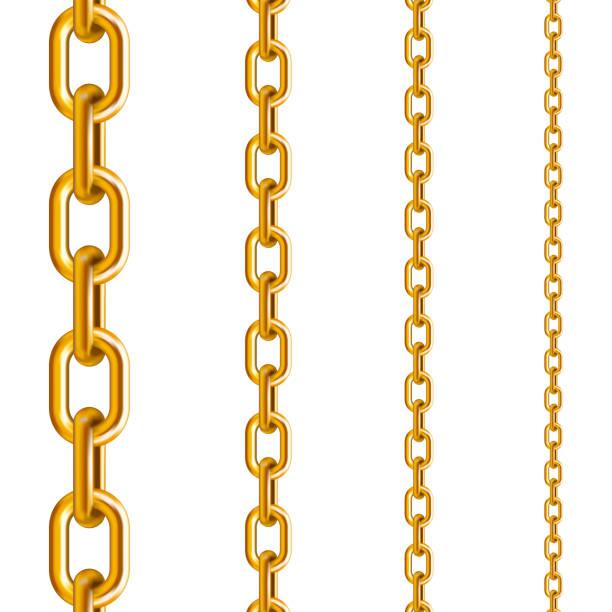 gold chains in different sizes - anello catena foto e immagini stock