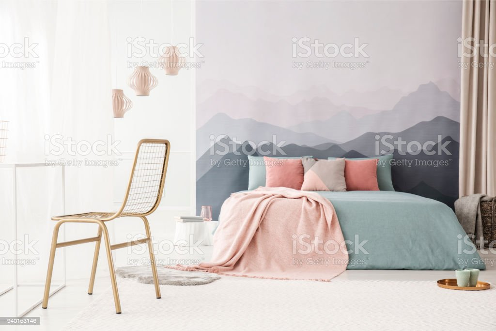 Pleasing Gold Chair In Bright Bedroom Stock Photo Download Image Machost Co Dining Chair Design Ideas Machostcouk