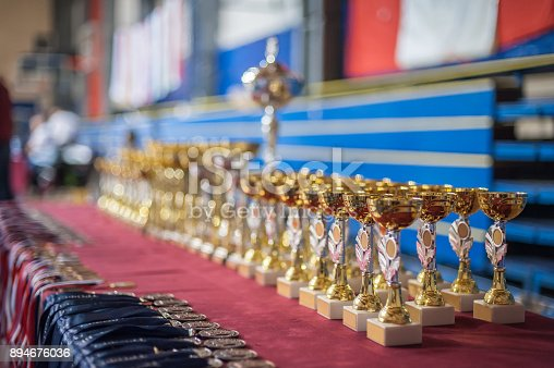 544347868 istock photo Gold champion trophies and medals lined up in rows 894676036