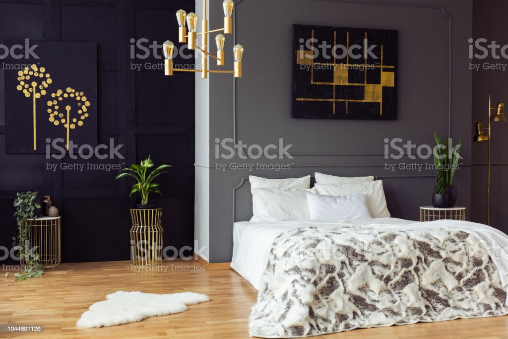 Gold Kronleuchter Uber Bett Innen Grau Schlafzimmer Mit Schwarzen Plakate Und Pflanzen Echtes Foto Stockfoto Und Mehr Bilder Von Bett Istock