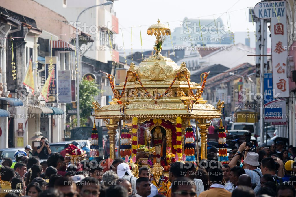 Gold Chariot Procession Thaipusam Georgetown Penang Malaysia stock photo