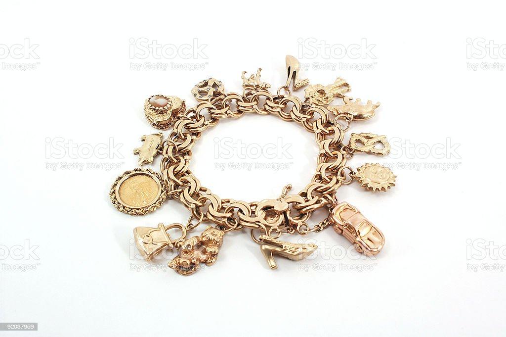 Gold Charm Bracelet stock photo