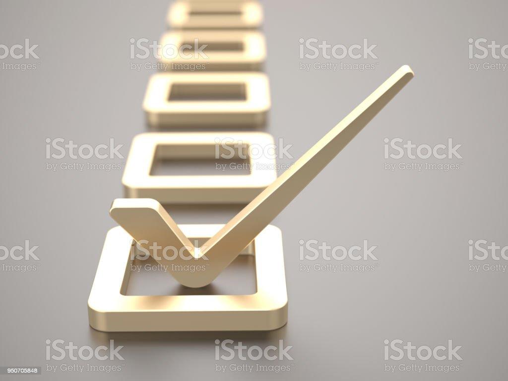 Gold check mark stock photo