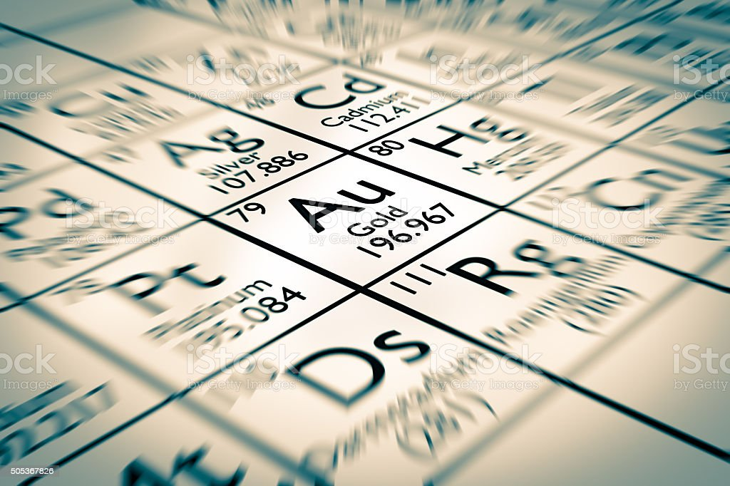 Gold Chemical Element stock photo