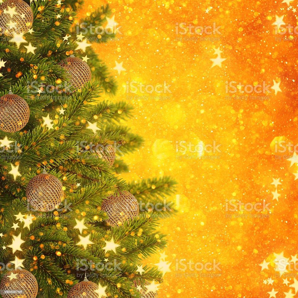 Gold Christmas background of de-focused lights royaltyfri bildbanksbilder