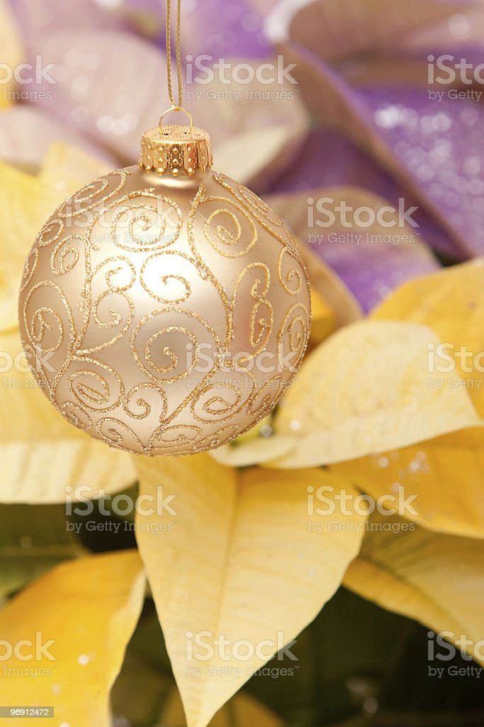 Gold Christmas bauble royalty-free stock photo