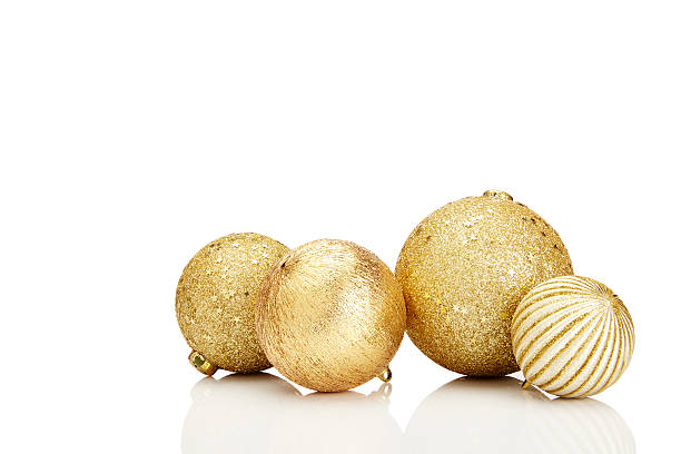 Gold Christmas Baubles stock photo