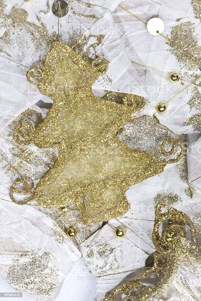 Gold Christmas Decorations royalty-free stock photo