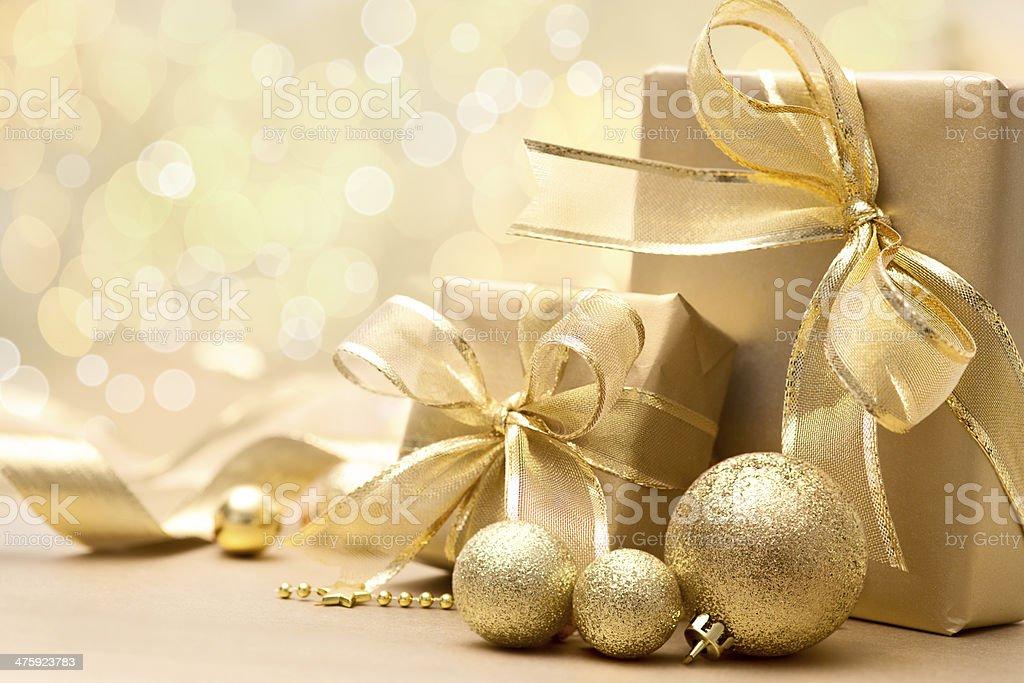 Caixas de presente de natal ouro - foto de acervo