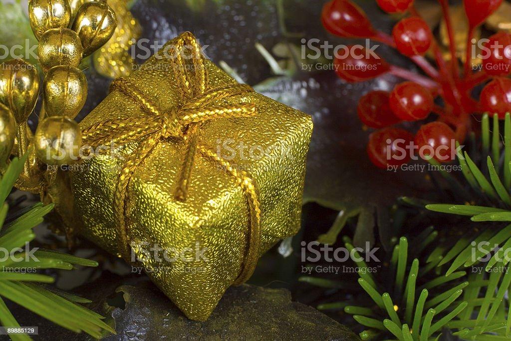 Gold christmas gift royalty-free stock photo