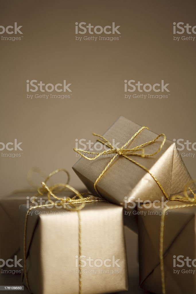 Gold Christmas Presents royalty-free stock photo