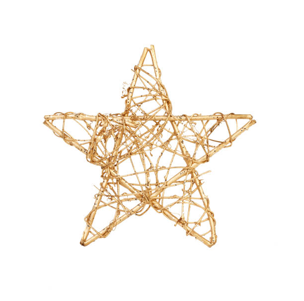 Gold christmas star isolated on white, a lot of copyspace available stock photo