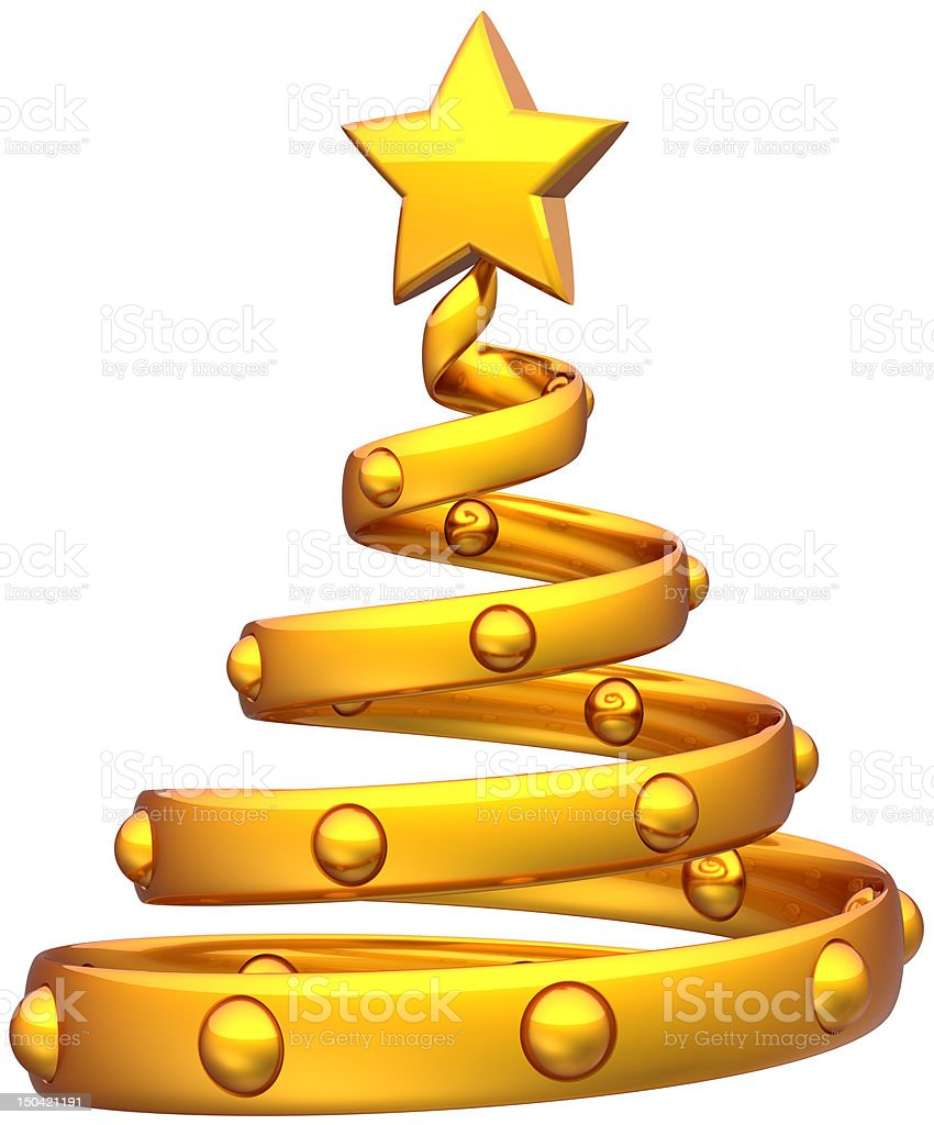 Gold Christmas tree abstract Happy New Year icon concept royalty-free stock photo