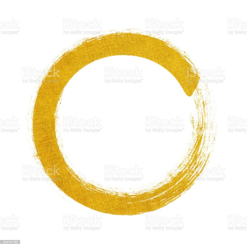 Gold circle brush stroke frame isolated on white background stock photo