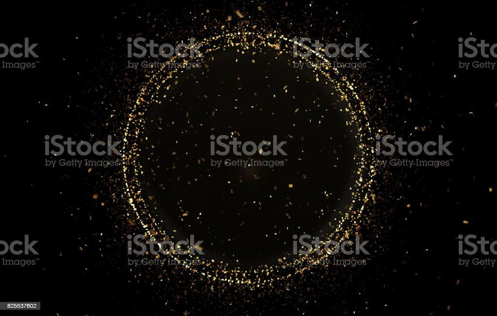 Gold circle shape with confetti stock photo