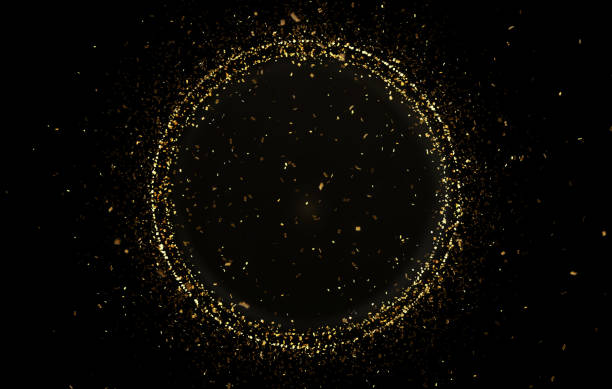gold circle shape with confetti - money black background stock photos and pictures