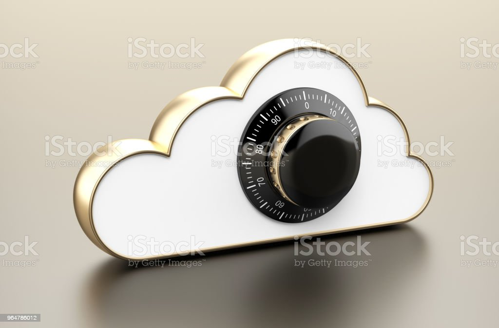 Gold cloud with combination lock royalty-free stock photo