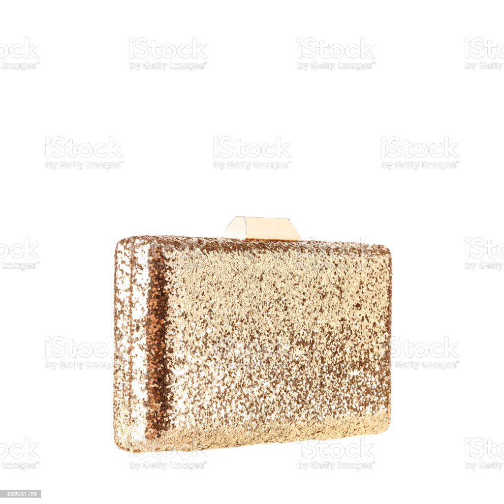 Gold clutch on white background stock photo