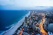 High angle shot of Gold Coast at night time