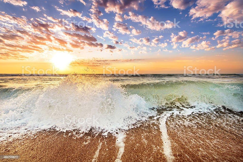 Gold Coast Australia beach sunrise over ocean stock photo