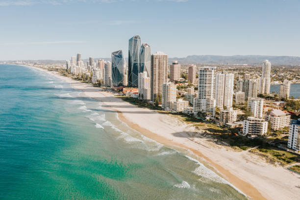 Gold Coast, Australia Aerial view of The Gold Coast strip, Queensland, Australia australia stock pictures, royalty-free photos & images