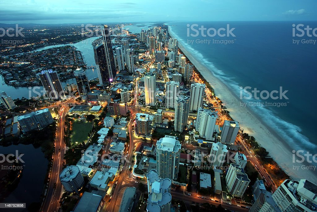 Gold coast by night stock photo