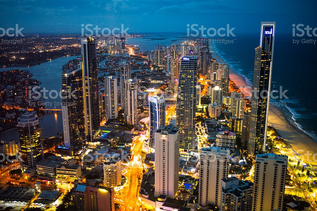 Gold Coast City at Night stock photo