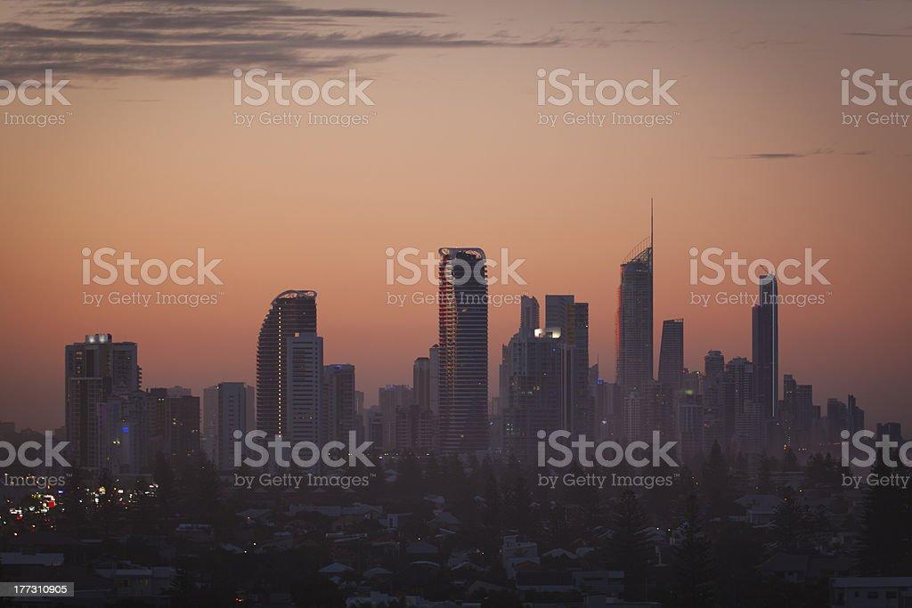 Gold Coast highrises at sunset stock photo