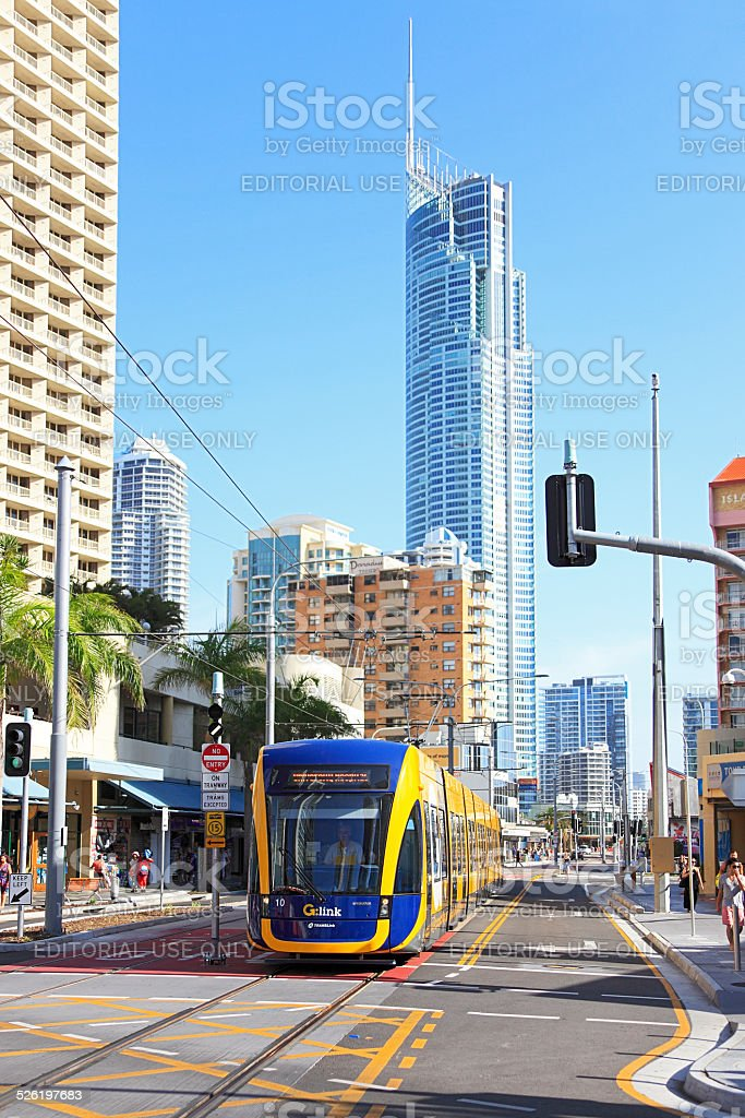 Gold Coast Light Rail (G:Link) service with Q1 in background stock photo