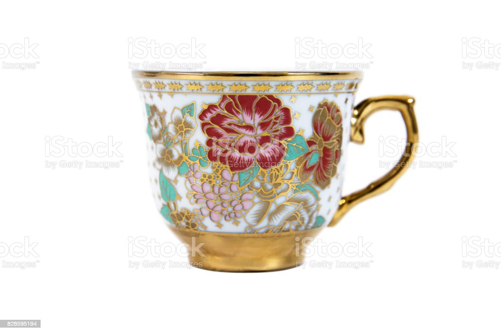 Gold coffee cup color isolated on white background stock photo