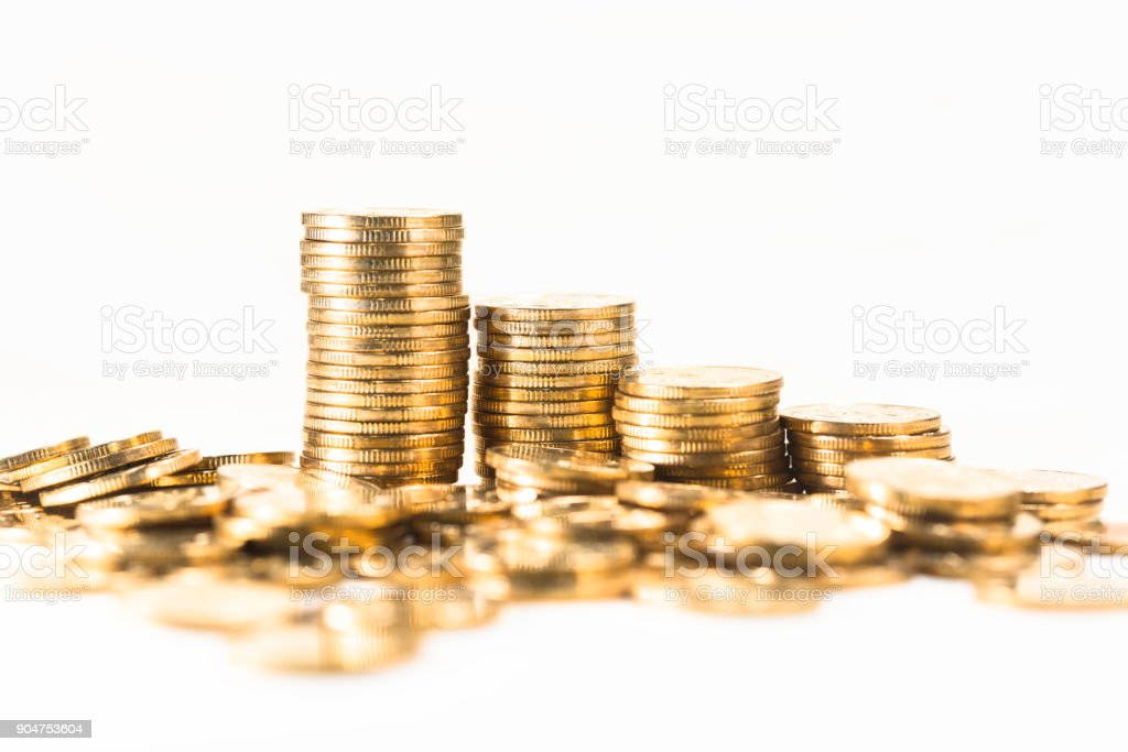 Gold Coin Business Finance stock photo