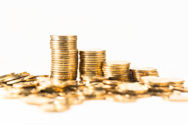 gold coin business finance - coin stock photos and pictures
